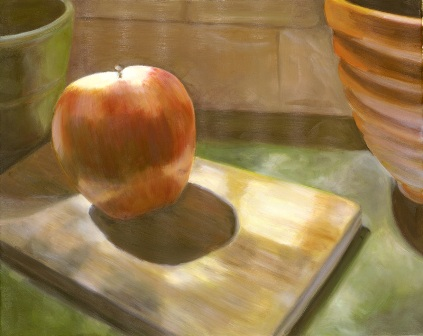 EP05 Red Apple on Cutting Board 16x20