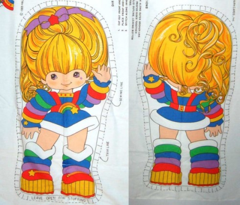 This is the exact Rainbow Brite pillow form that my Great-Aunt Luella used to make the doll for me. She doesn't exactly look like this anymore. There might be a slight resemblance in the boots.